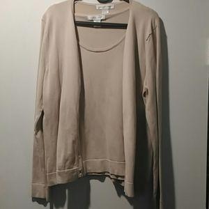 August silk tan cardigan set